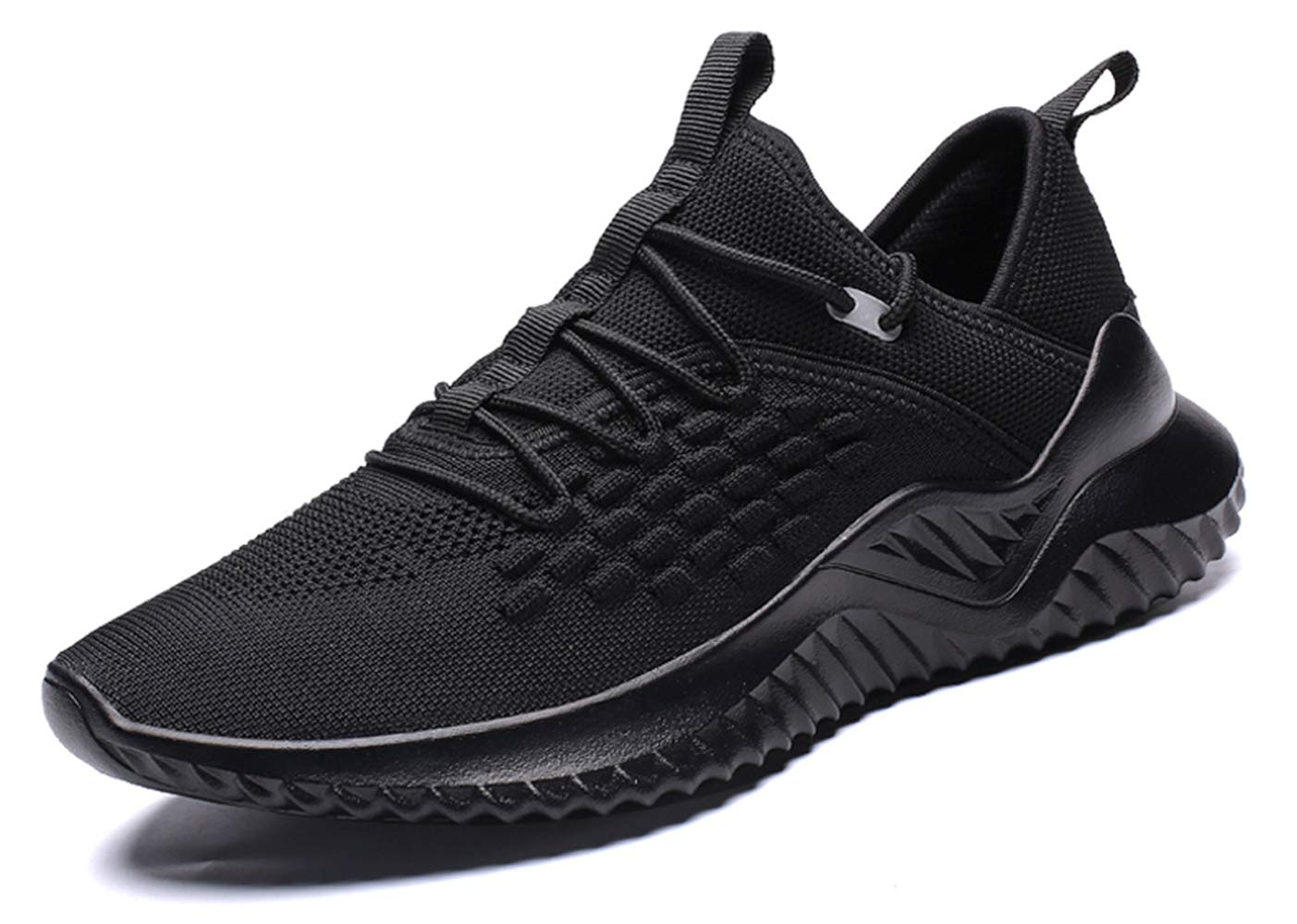 SKDOIUL Slip on Tennis Shoes for Men All Black Sneakers flyknti mesh Breathable Comfort Youth Boys Trail Running Shoes Gym Workout Jogging Size 6.5 (1907-Black-39)