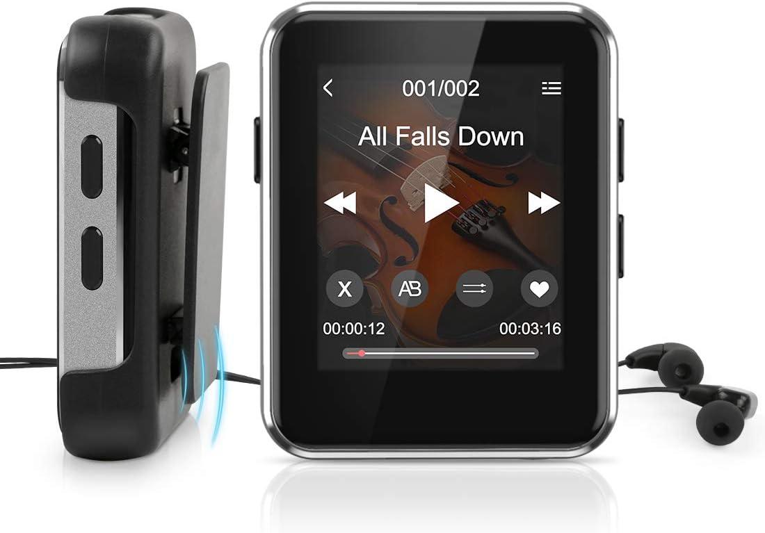 """Reproductor MP3 16GB Bluetooth 4.1 con 1.77"""" Pantalla Táctil Completa,Timoom MP4 Bluetooth Running HiFi con Auriculares y Clip para Grabación,FM Radio,E-Book,Vídeo,Soporte hasta 128 GB TF Tarjeta"""