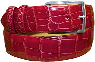 product image for Woodward Red Alligator Belt Strap with Sterling Silver Buckle