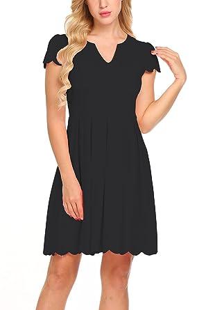 715991b311c Sweetnight Women Fashion Cute Sweet Scallop Pleated Skater Dress Party Dress  (Black