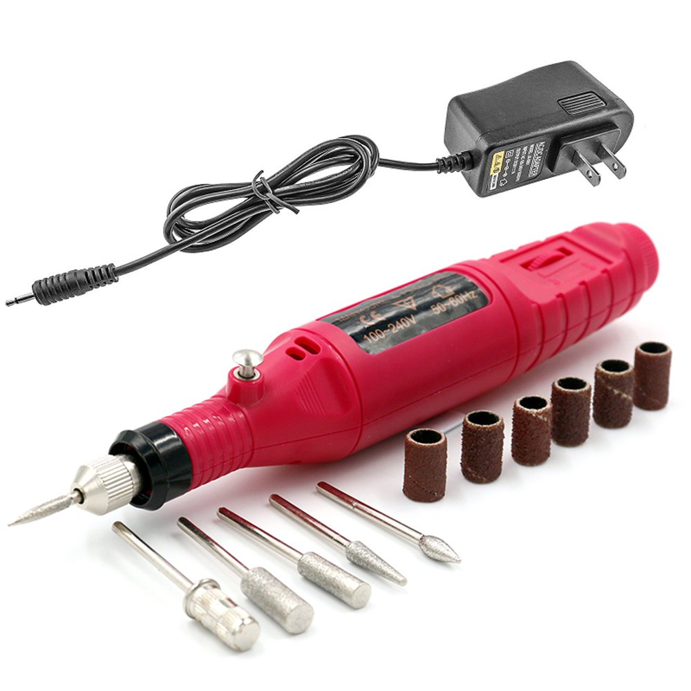 Pinkiou Pen Shape Electric Nail Drill Manicure Filer Kit Nail Polish Machine set with 6 Acrylic Gel Remover Pedicure Tools Nail Art
