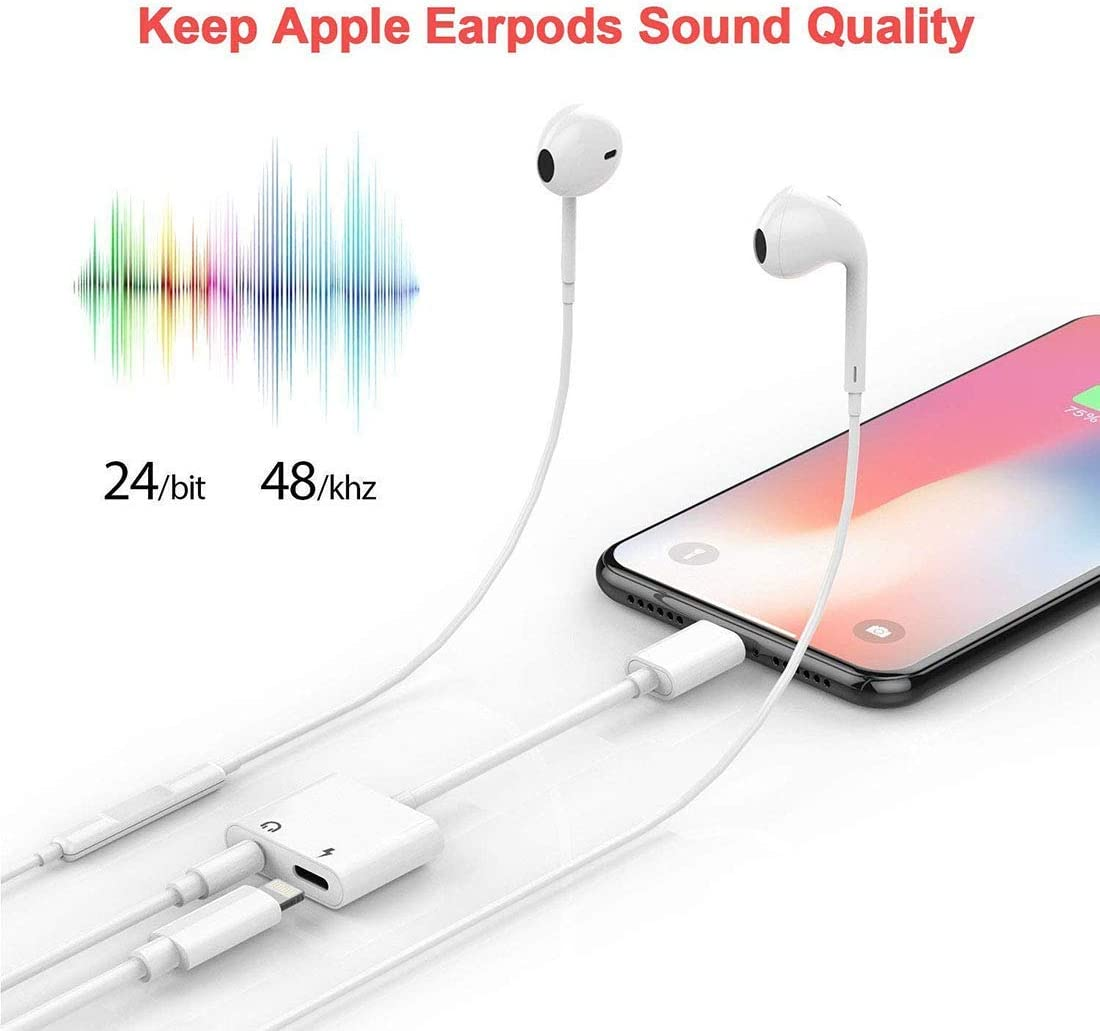 // 7//7 Plus Adapter to 3.5mm Jack Converter Car Charge Accessories Cables /& Audio Connector 2 in 1 Earphone Splitter Adaptor Headphone Jack Aux Adapter Dongle for iPhone Xs//Xs Max//XR// 8//8 Plus//X 10
