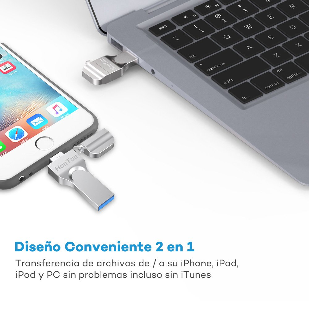 6s Plus iPad 8plus HooToo Memoria USB 32 GB 5s //Mac//Windows 7 Plus Compatible con iPhone 6s Flash Drive iPhone x Certificado MFI 6 7 Pendrive 2 en 1, 8