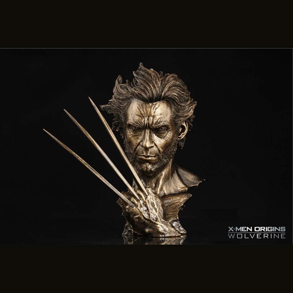 Color : Gold X-Men Wolverine Hugh Jackman Nachahmung Kupfer Nachahmung Eisen Statue Modell Film Charakter Fehlschlag 30 cm Ornament Hyococ