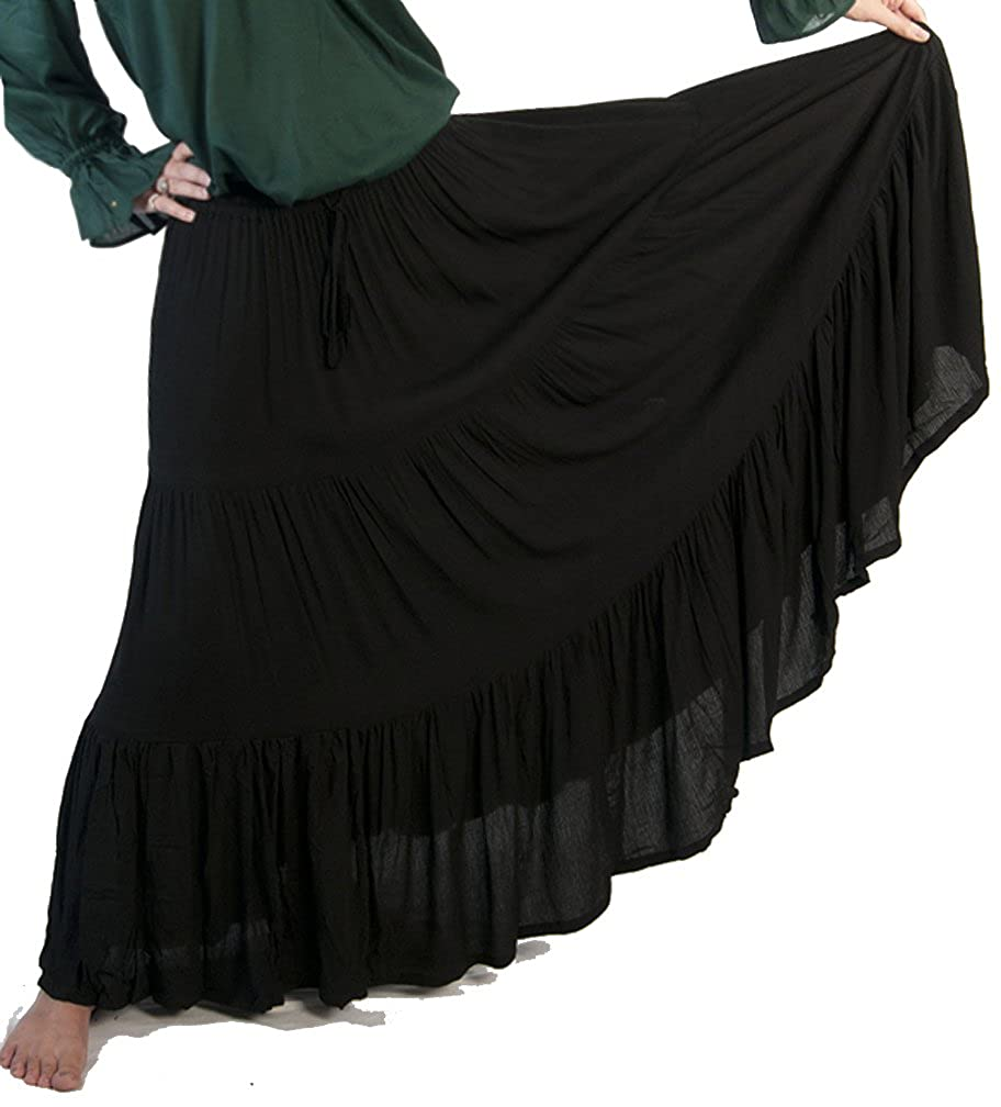 Women's Romantic Renaissance 3-Tier Black Ruffled Peasant Skirt - DeluxeAdultCostumes.com