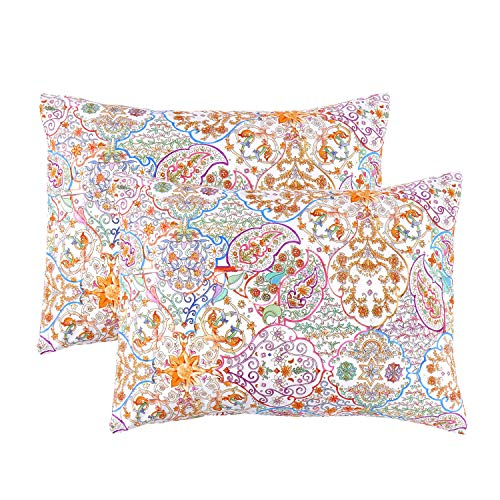 - Wake In Cloud - Pack of 2 Pillow Cases, 100% Cotton Pillowcases, Bohemian Boho Chic Moroccan Printed (Standard Size, 20x26 Inches)