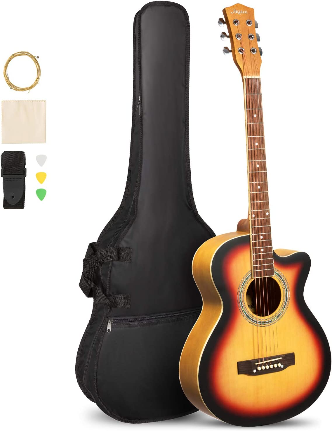 B073WBR1PL ARTALL 39 Inch Handcrafted Acoustic Cutaway Guitar Beginner Kit with Gig bag & Accessories, Matte Sunset 61wtxIRvpjL