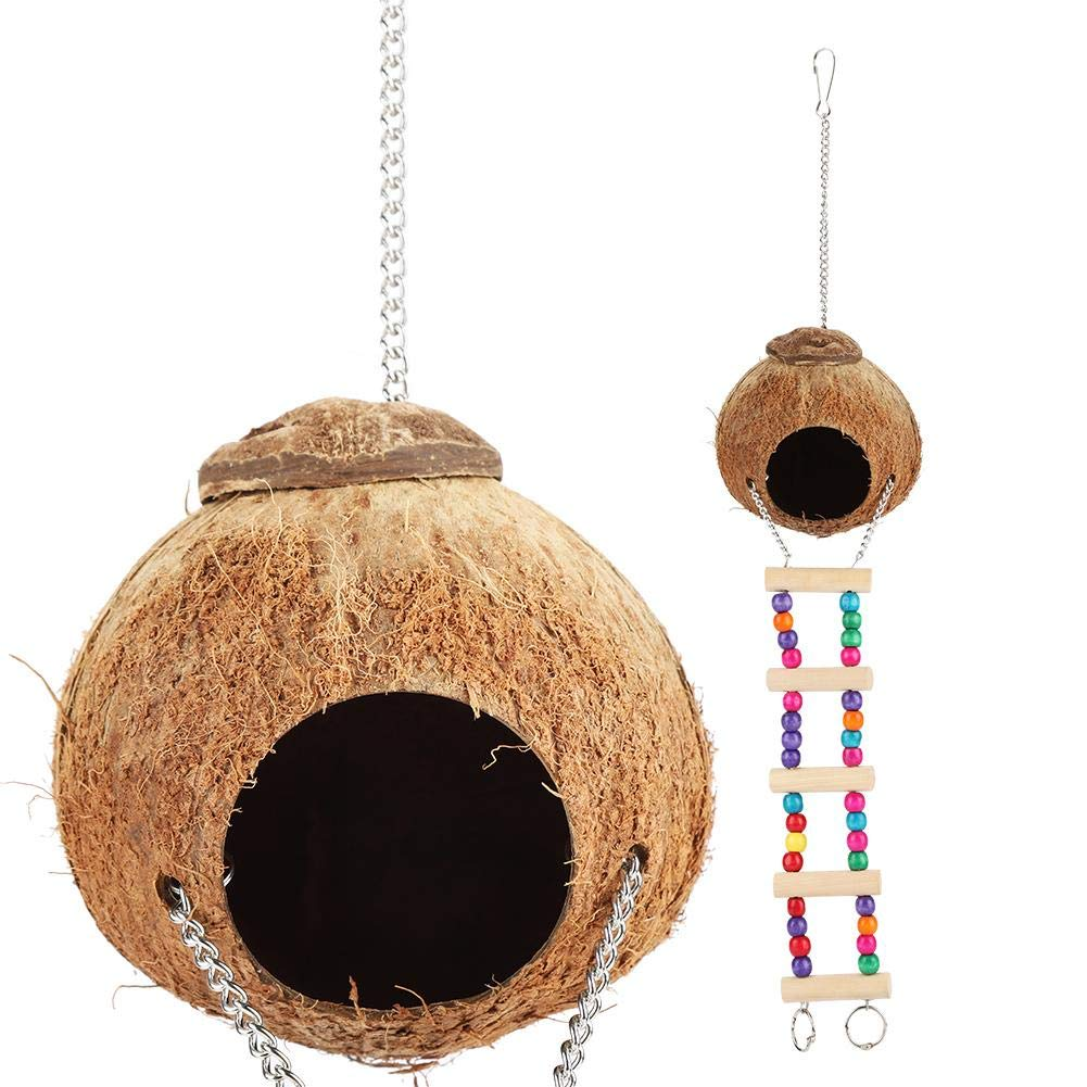 Yosoo Small Animal Nest, Coconut Shell Made Parrot Squirrel Cage Natural Pet Supply Hanging Pigeon Hamster House with Ladder by Yosoo