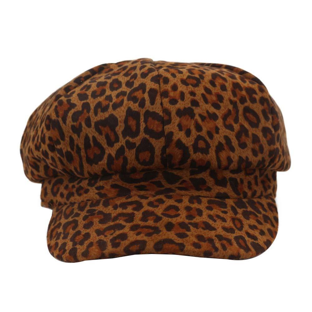 Ogquaton /Vintage Artiste Femmes Automne Hiver l/éopard octogonale Chapeau a culmin/é b/éret Casquette Haute qualit/é