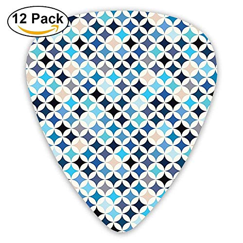 - Geometric Circles With Half Round Like Square Blue Tones Mix Guitar Picks 12/Pack