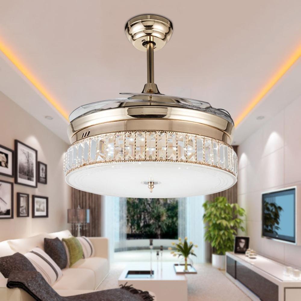 KHSKX European-led stealth ceiling fan lights, the new Crystal stealth ceiling fan light, stylish dining room living room fan chandelier by KHSKX (Image #1)