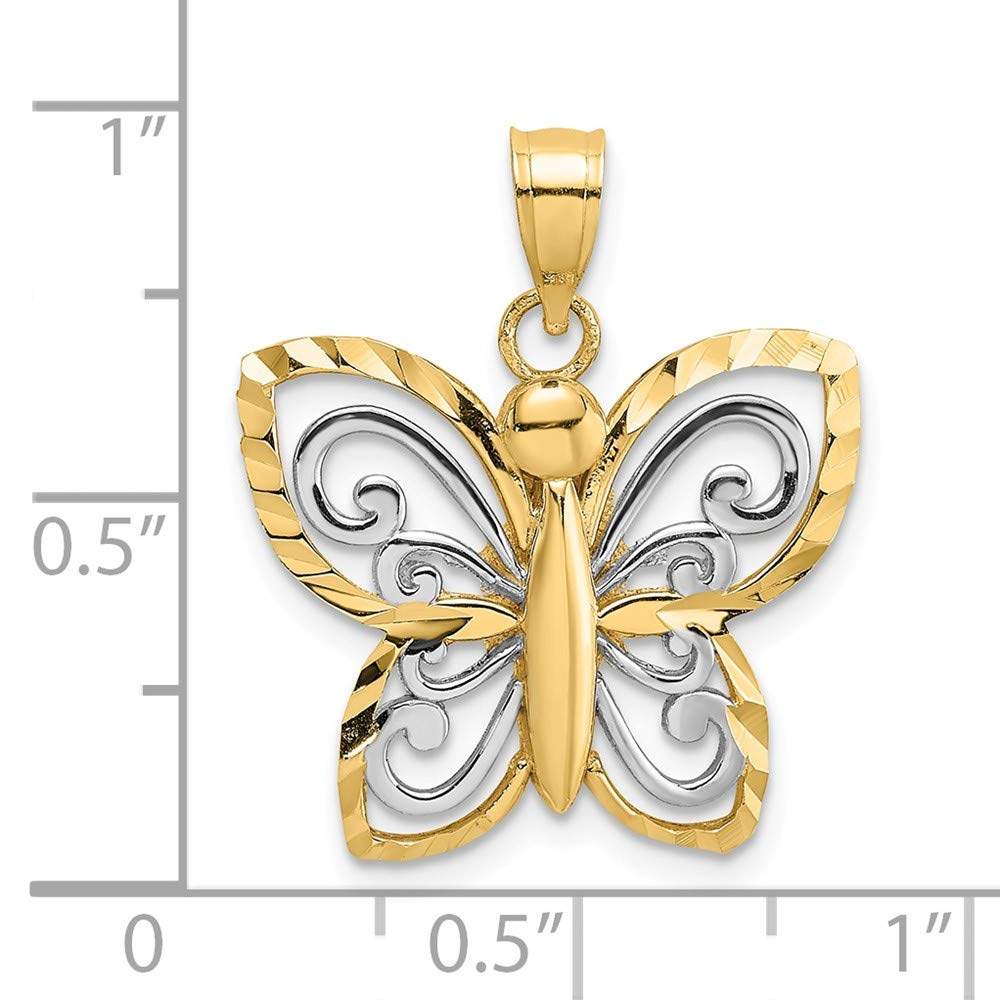 14k Gold Rhodium-Plated D//C Butterfly Charm