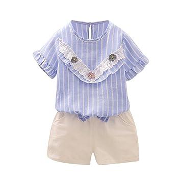 6492e08d62bc6 Aliciga 子供服 女の子 Tシャツ + ショートパンツ 半袖 セットアップ ベビー服 無地 上下 二点