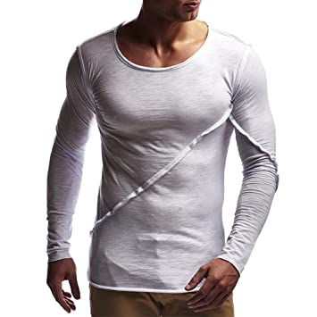 WWricotta Camisetas Hombre Manga Larga Originales Color Sólido Patchwork Suelto Gimnasio Deporte Camisa Polos Fitness Casual Remera: Amazon.es: Deportes y ...