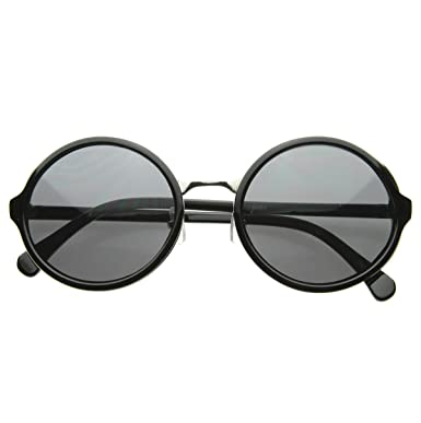 1a725d9487a1e zeroUV - Vintage Inspired Classic Round Circle Sunglasses w  Metal Bridge  (Black-Silver Smoke)  Amazon.co.uk  Clothing