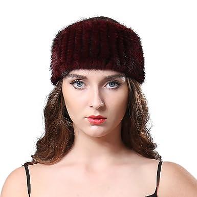 Furtalk Womens Winter Hand Knitted Genuine Mink Fur Headband Warm