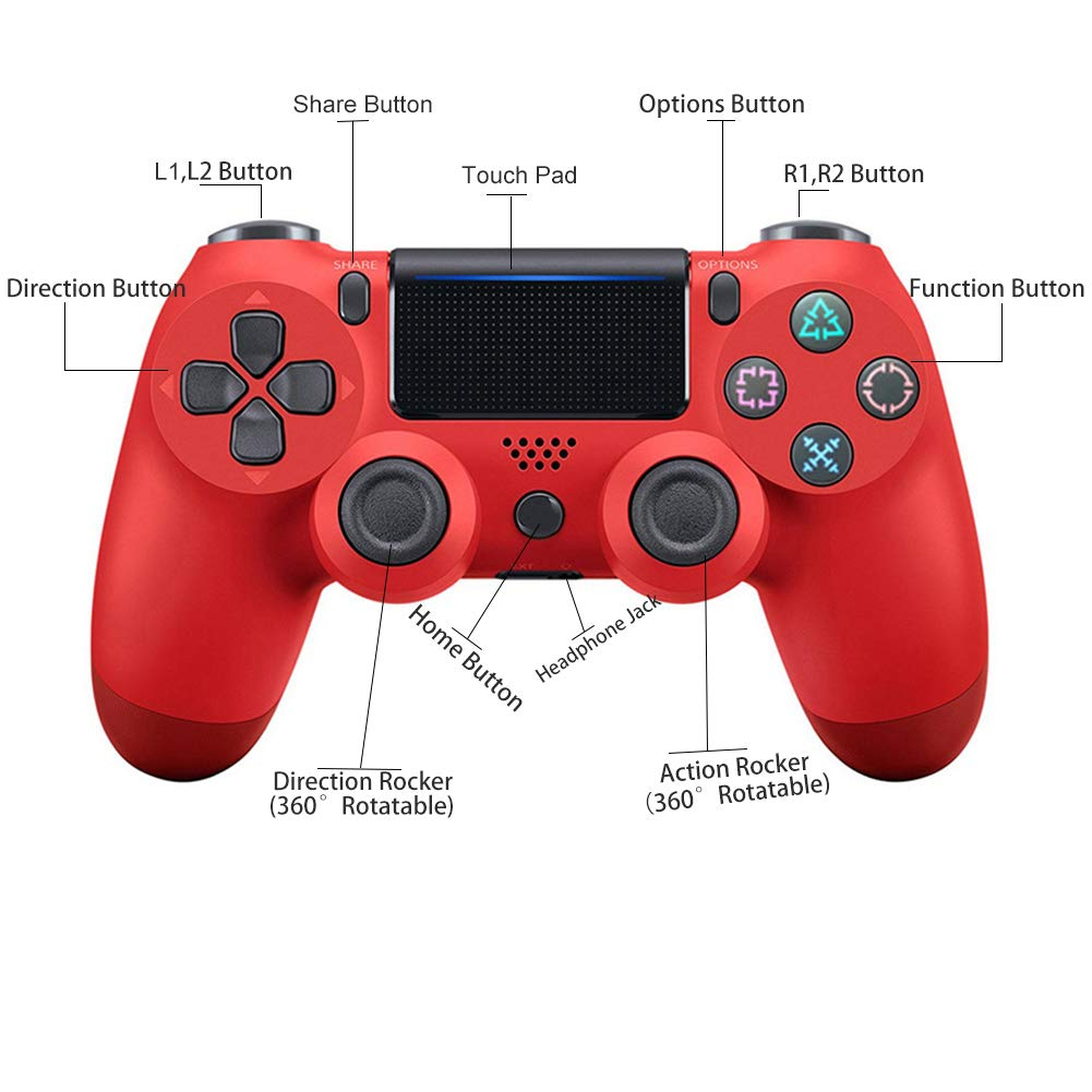 YZmoffer Wireless Controller Bluetooth Gamepad for Dual Shock, Remote for PS4 Controller Joystick Gamepads for Playstation 4 Console for Playstation 4 Wireless with USB Cable for Playstation 4 (Red)