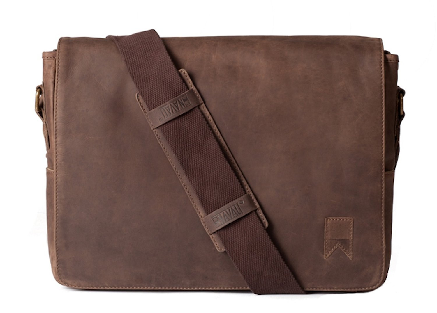 Navali Leather Mainstay Computer Messenger Bag, Brown