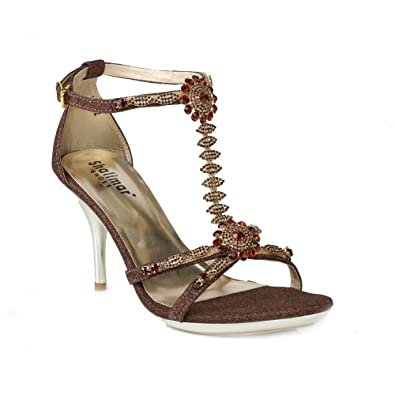 0680826e3c4 Womens Ladies Evening Rhinestone Buckled T-Bar Ankle Strap Open Toe  Stiletto Party Bridal Sandals
