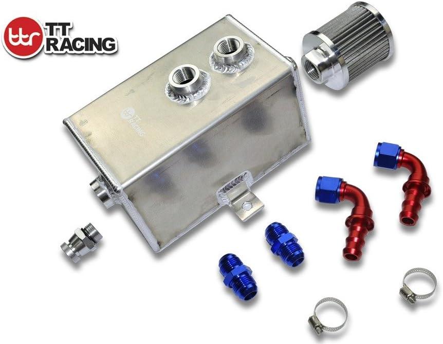 3L AN10 Aluminum Alloy Oil Catch Can Tank Kit w//Breather Filter Drain Tap Baffled Black 3L/_OT/_BK/_KIT