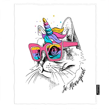 Amazon.com: Moslion Manta de gato con diseño de gato en ...