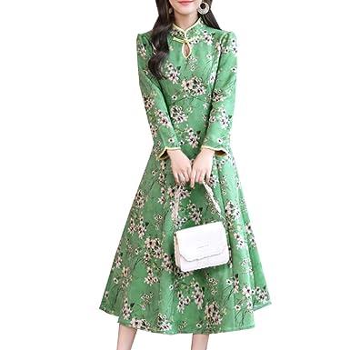 a1ce7c5282700 ワンピース レディース チーパオ チャイナワンピース ドレス スカート エレガント Aライン シルエット 花柄 スリム 細身 上品