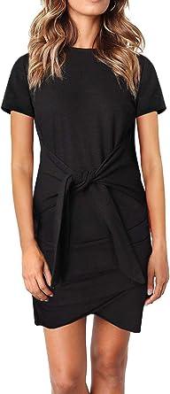 FIYOTE - Vestido de manga corta para mujer con cinturón, vestido casual de manga corta, de algodón, 6 colores, S - XL: Amazon.es: Ropa y accesorios