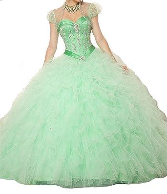 Aisha Womens Sweetheart Beading Vestidos Ball Gown Sweet 16 Quinceanera Dress 0 US Green