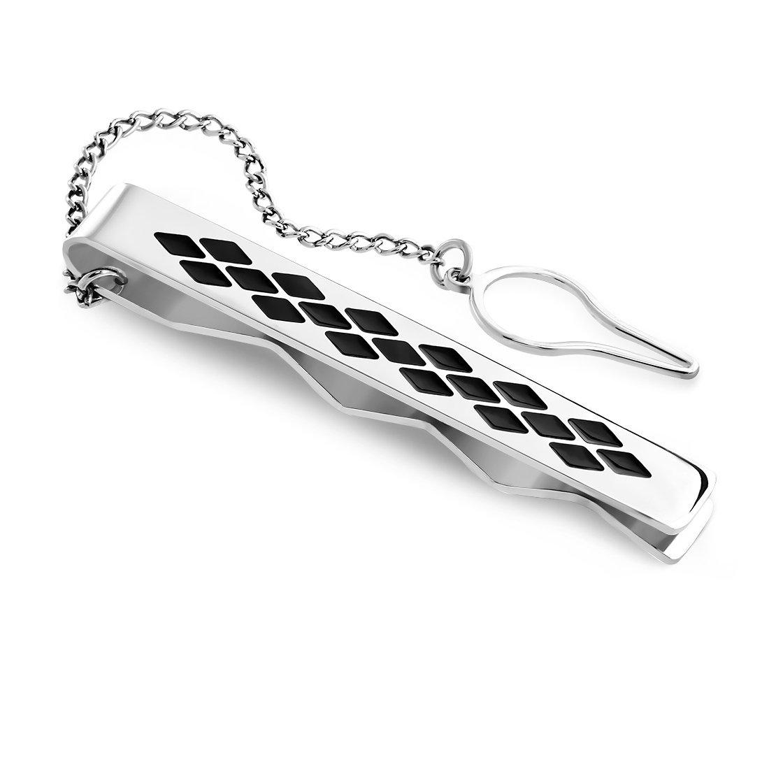 Acier inoxydable 2tons Grille/Checker Barre de cravate pour homme Pince à cravate avec chaîne NRG 316L Jewelry 205-YYN034