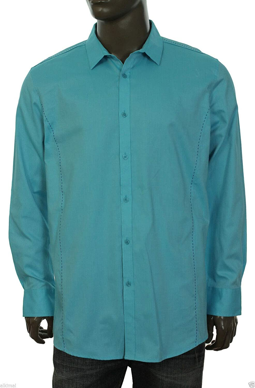 INC International Concepts Mens SEA ISLE Slim FIT Button Front Shirt XXL Blue