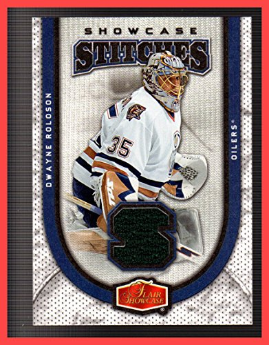 2006-07 Flair Showcase Stitches GAME USED JERSEY #SSDR Dwayne Roloson EDMONTON OILERS -