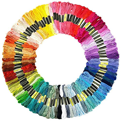 B&S FEEL Embroidery Floss Premium Rainbow Color Cross Stitch Threads Friendship Bracelets Floss Crafts Floss (100 Skeins Per Pack)