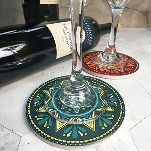 ENKORE Absorbent Coasters For Drinks - 6 Pretty Mandala Patterns on Big Ceramic Stones with Cork Back, Use as Elegant Home Decor and Save Your Furniture From Damage By Water Stain And Marks, No Holder by Enkore (Image #4)