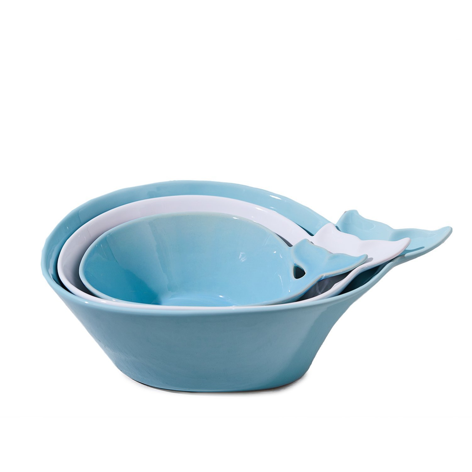 Two's Company 51482-EA Oh Whale! Bowls (Set of 3), Blue