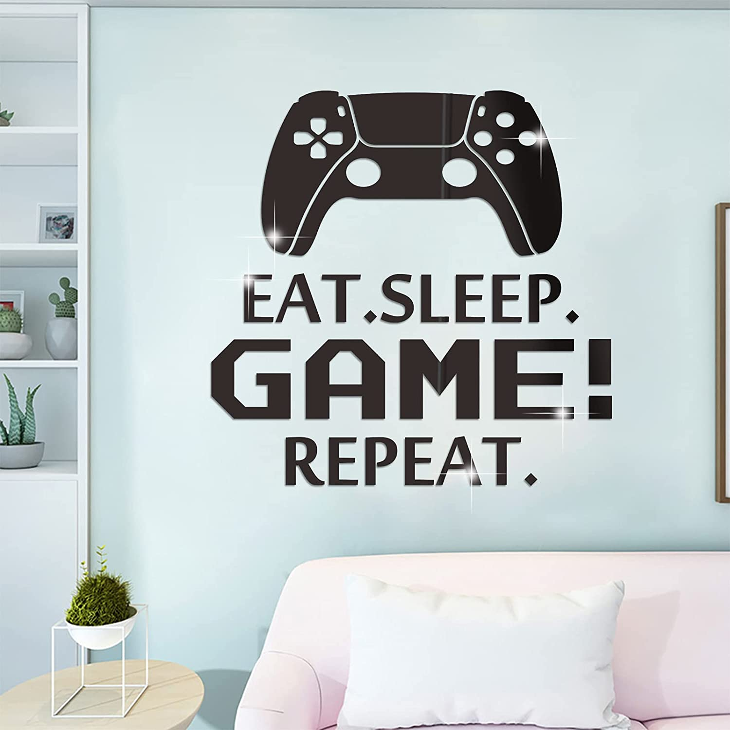 3D Removable Acrylic Mirror Wall Decals, FLMOUTN Creative DIY Eat Sleep Repeat Game Mirror Surface Wall Letter Art Stickers for Boys Girls Video Game Room Decor