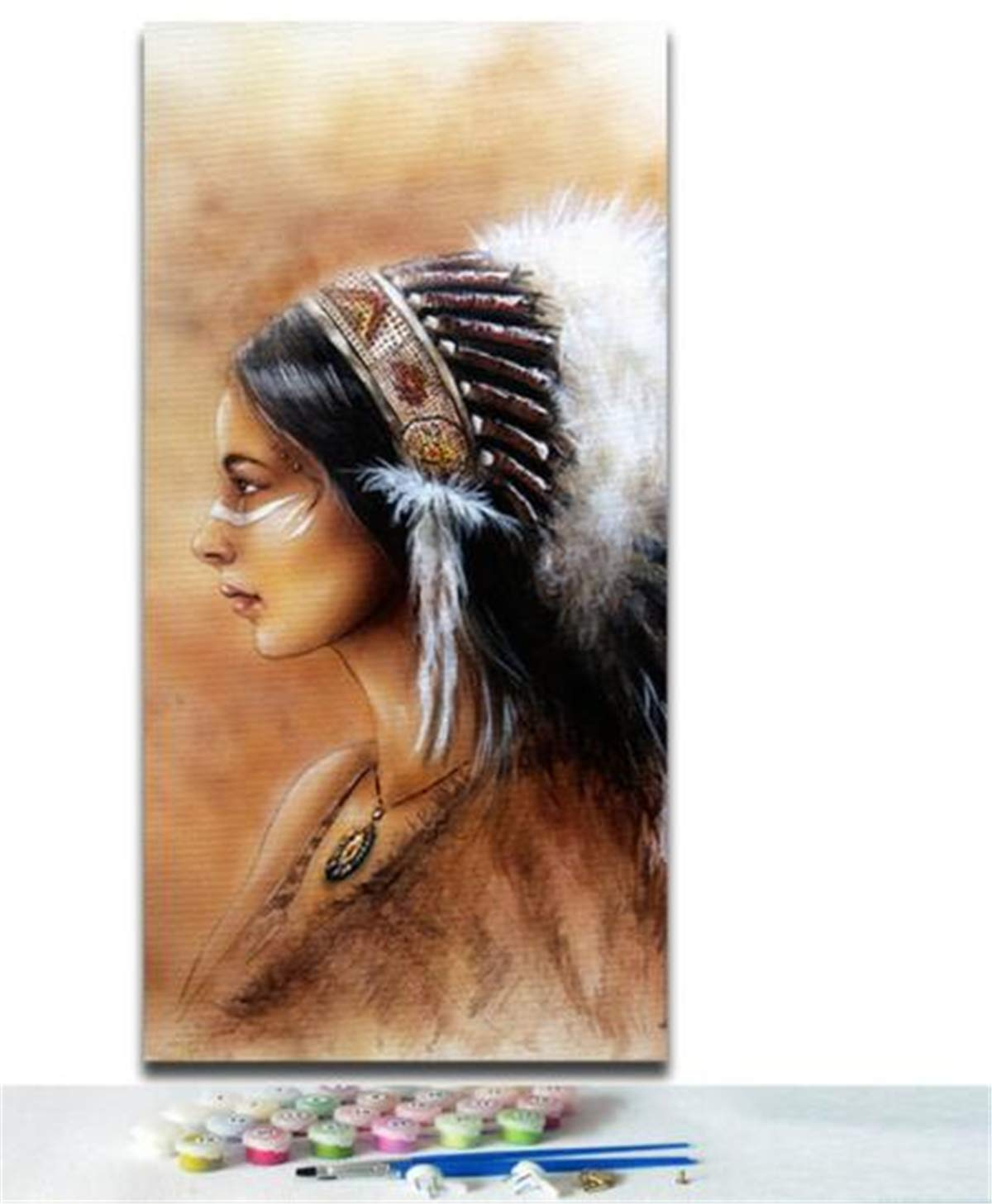 DIY Paint by Number Oil Painting Native American Indian with Feather Paintworks for Living Room for Kids and Adults for Christmas Room Decorations No Frame