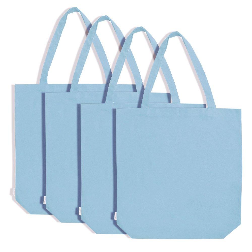 Augbunny ショッピングトートバッグ 100%コットンキャンバス 買い物袋 4つ入り Extra Large ブルー B017YKSGY0 スカイブルー スカイブルー