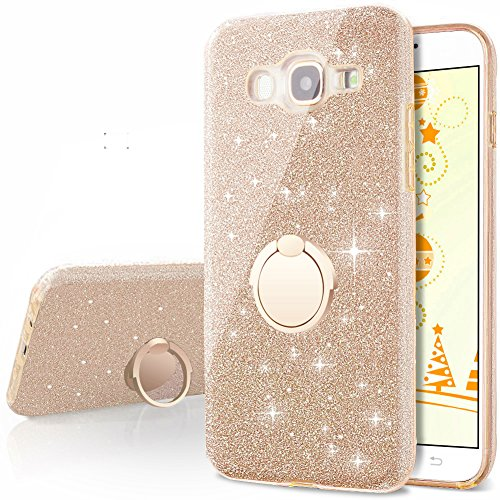 Galaxy J7 2016 Case,Silverback Bling Glitter Sparkle Cute Phone Case Girls With 360 Rotating Ring Stand, Soft TPU Outer Cover + Hard PC Inner Shell Skin for Samsung Galaxy J7 2016 -Gold