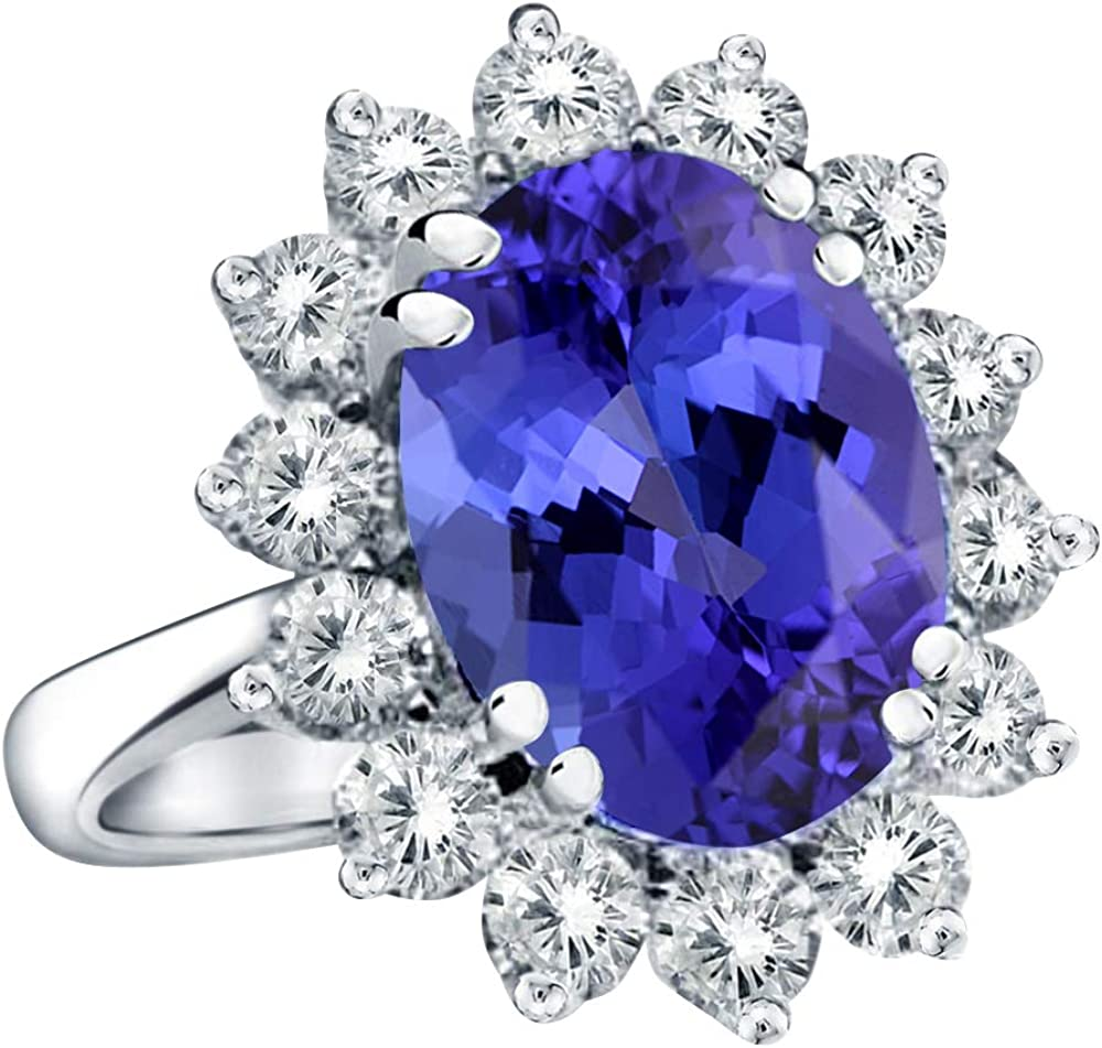 BEAUTIFUL MARCASITE 2 CT TANZANITE 925 STERLING SILVER RING SIZE 5-10