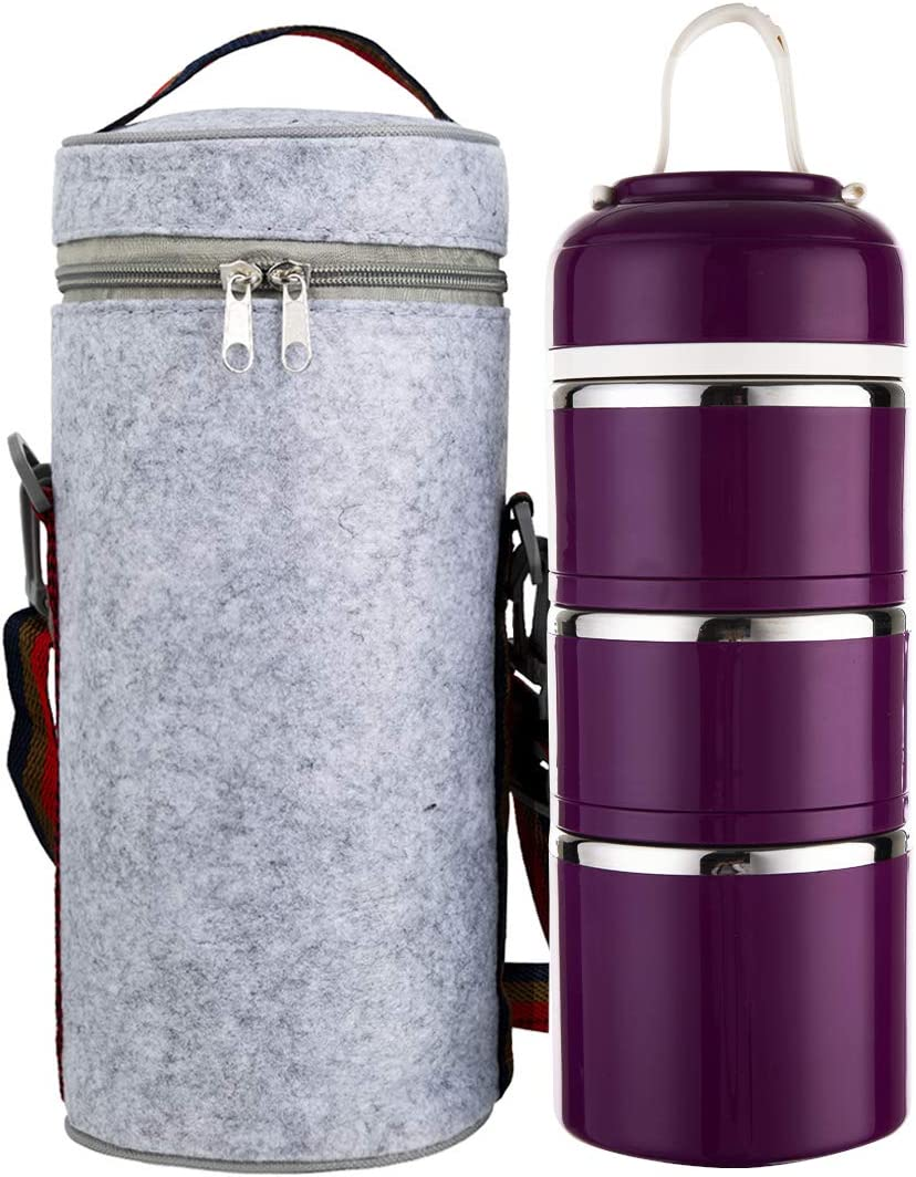 Tiffin Box Stainless Steel Insulated 3 layer Lunch Box for Hot Food Carrying Steel Container Thermal Bento Box Stackable Leakproof Indian Tiffins with Carrying Bag Adults Men Women (Elegant Purple)