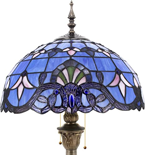 Tiffany Floor Lamp Standing Style W16H64 Inch Tall Blue Lavender Stained Glass Baroque Shade Reading Lighting 2E26 Antique Resin Base S003C WERFACTORY Lamps Bedroom Living Room Bookcase Lover Gift