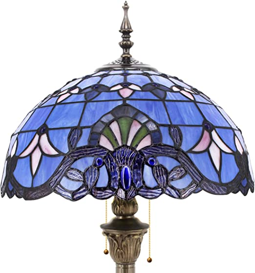 Tiffany Style Floor Standing Lamp 64 Inch Tall Purple Blue Lavender Stained  Glass Baroque Shade 2 Light Antique Base for Bedroom Living Room Reading ...