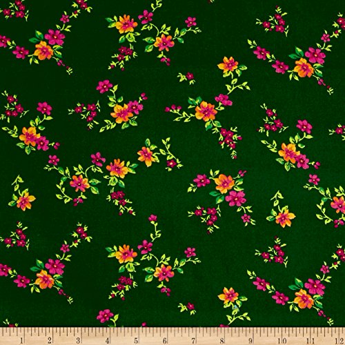 Santee Print Works Botanical Garden Floral Dark Green Fabric by The Yard,