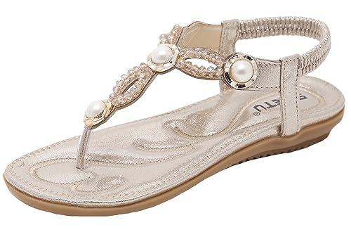 c58cee4ec1f31 Womens Pearl Decor Flip-Flop Summer Flat Sandals (5.5 M