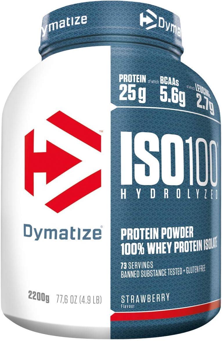 Dymatize ISO 100 Strawberry 2,2kg - Hidrolizado de Proteína de Suero Whey + Aislado en Polvo