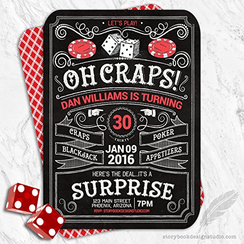 Casino Birthday Party Invitations (Set of 10) Personalized ()