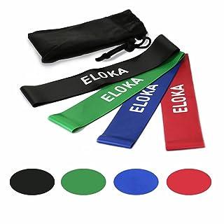 Eloka bandas de resistencia–Juego de 4bandas de ejercicio para entrenamiento de fuerza rehabilitación física terapia Yoga Pilates Fitness bandas de hombres mujeres