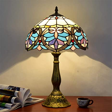 Lampada Da Tavolo Tiffany Da 12 Pollici Lampada Da Comodino Camera Da Letto In Vetro Colorato Con Lampada Da Tavolo Lampada Da Tavolo Elegante Amazon It Illuminazione