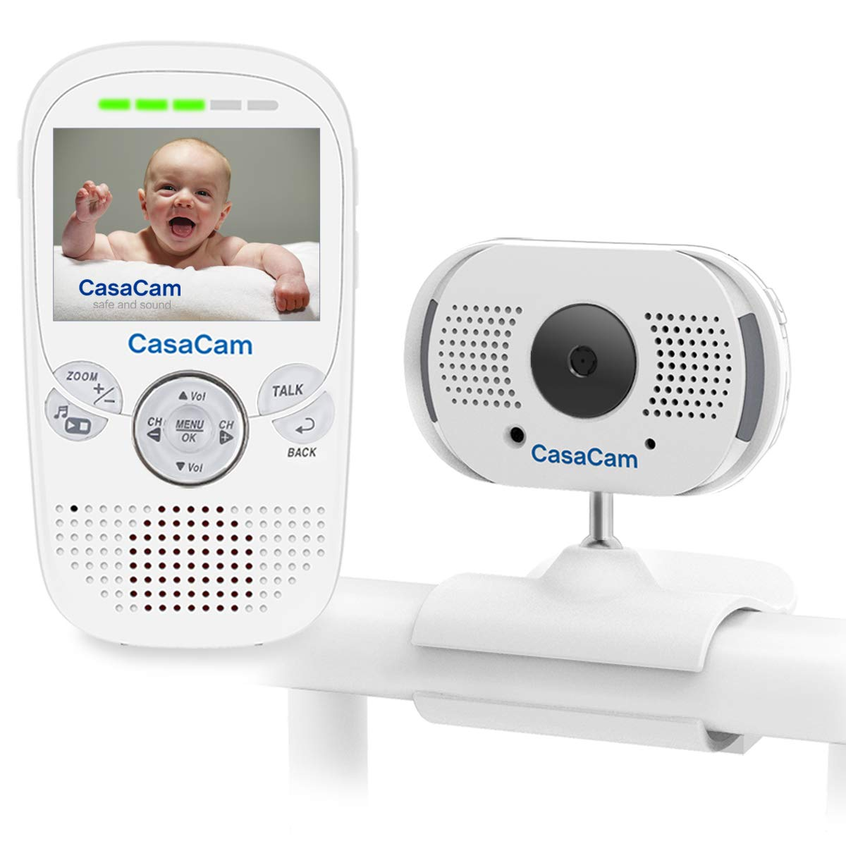 CasaCam BM100 Video Baby Monitor with 2.3'' LCD Monitor and Digital ClipCam, Two-Way Audio, Automatic Night Vision, Temperature Monitoring, Night Light and Lullabies (1-cam kit)