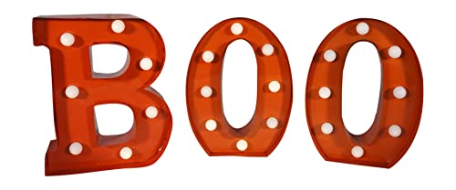 9 Inch High LED Lighted Orange Boo Halloween Metal Sign, Set of 3 Letters